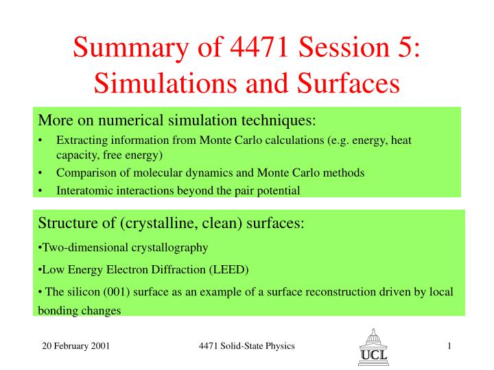 summary of 4471 session 5 simulations and surfaces n.