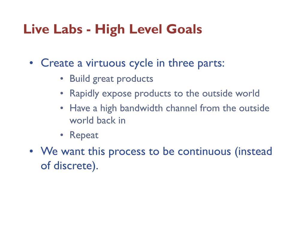 Live Labs - High Level Goals