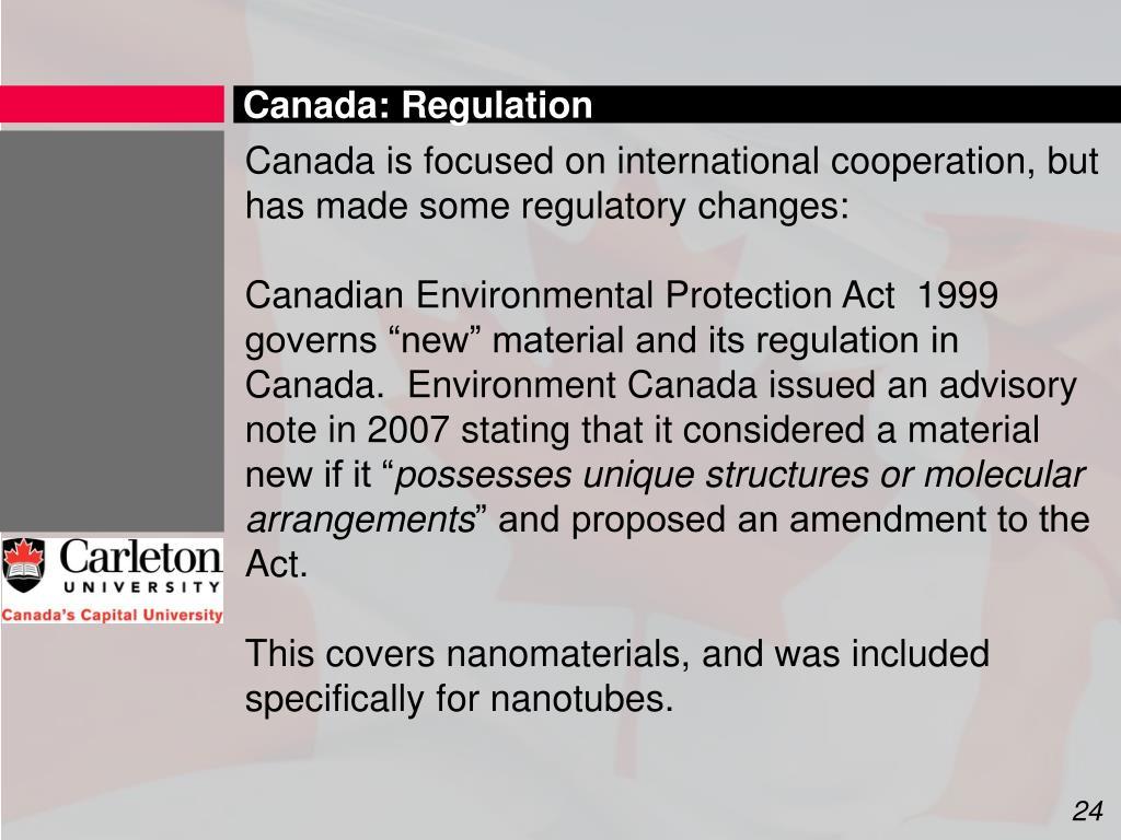 Canada: Regulation