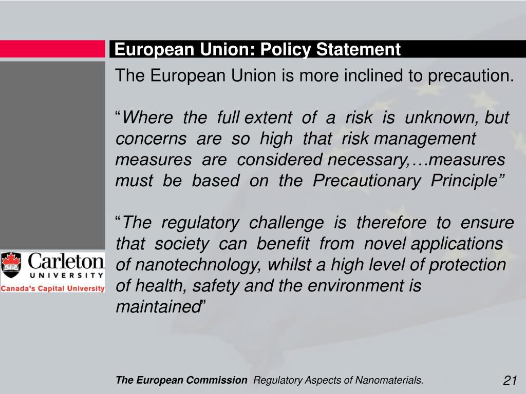 European Union: Policy Statement