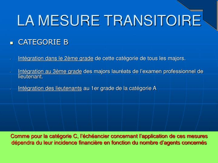 LA MESURE TRANSITOIRE