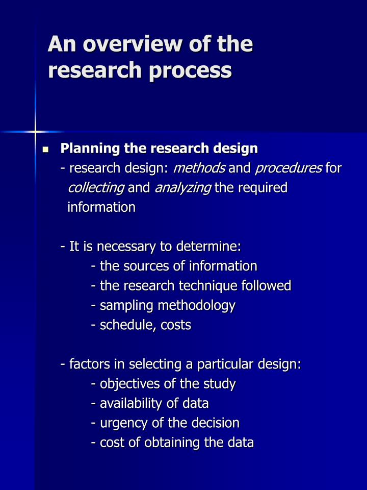 An overview of the research process