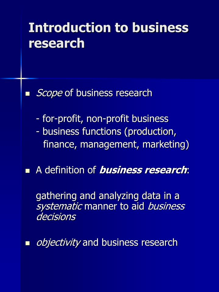 Introduction to business research