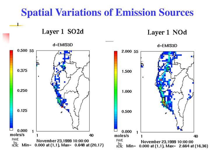 Spatial Variations of Emission Sources