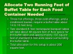 allocate two running feet of buffet table for each food container needed