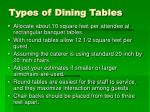 types of dining tables