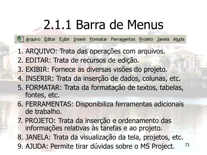 2.1.1 Barra de Menus