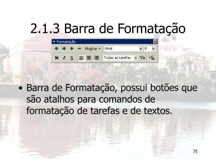2.1.3 Barra de Formatação