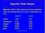 specific heat values