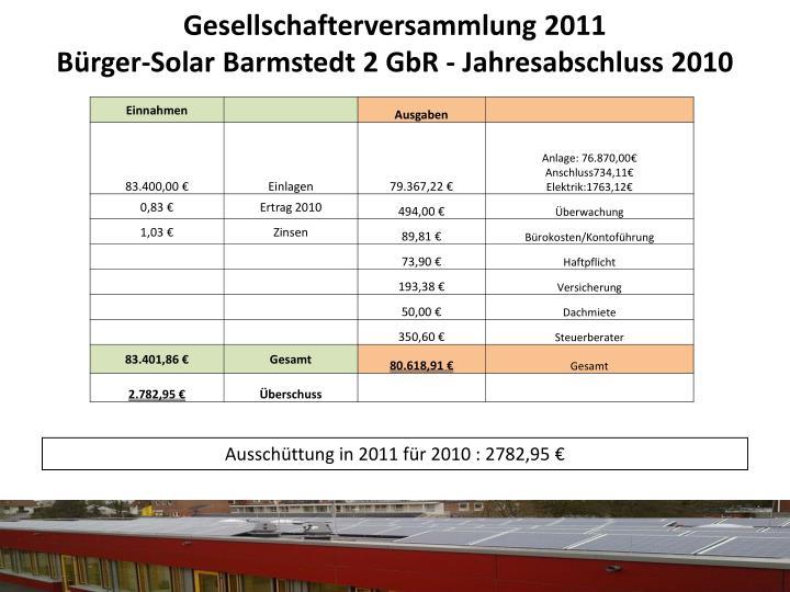 Gesellschafterversammlung 2011