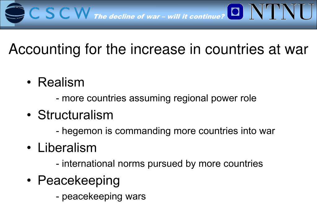 Accounting for the increase in countries at war
