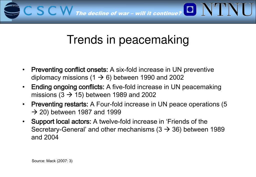 Trends in peacemaking