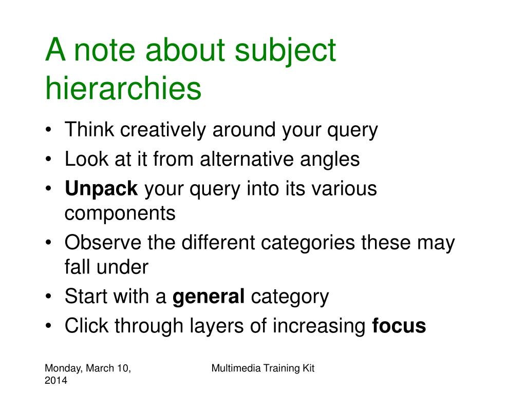 A note about subject hierarchies