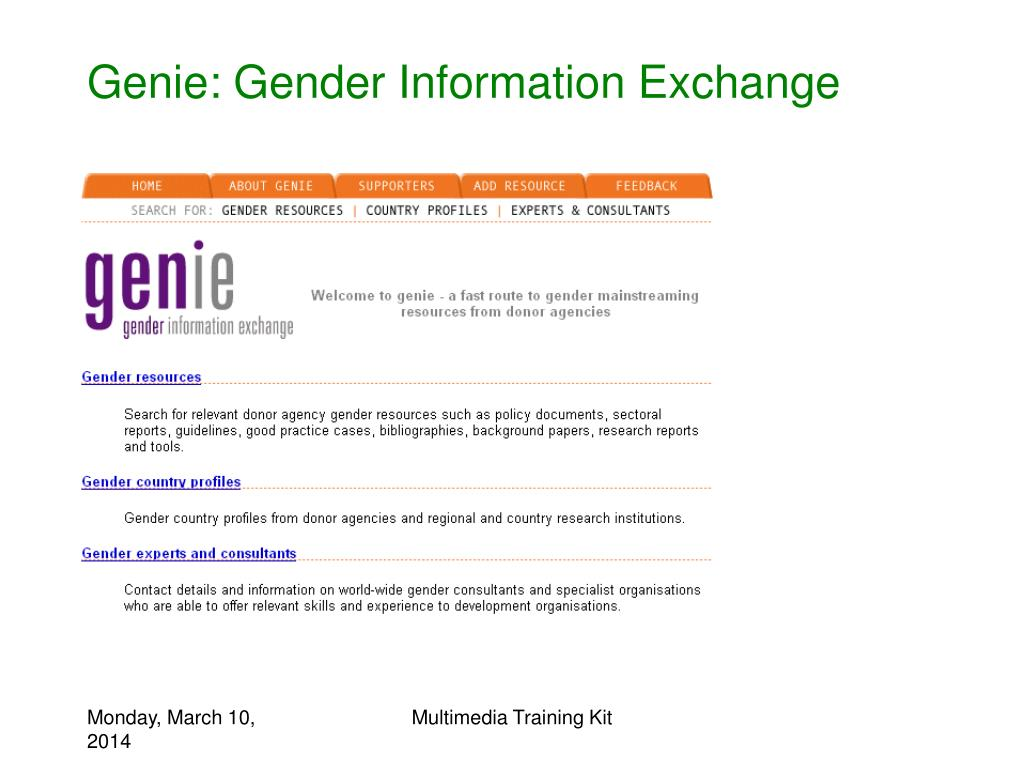 Genie: Gender Information Exchange