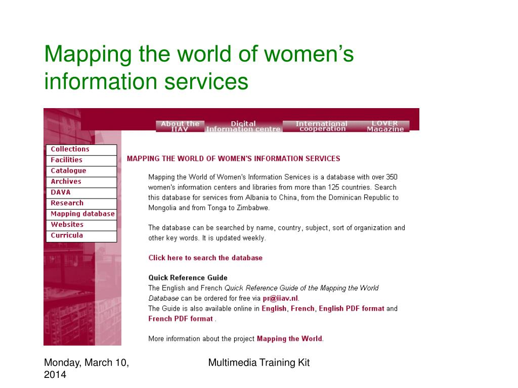 Mapping the world of women's information services