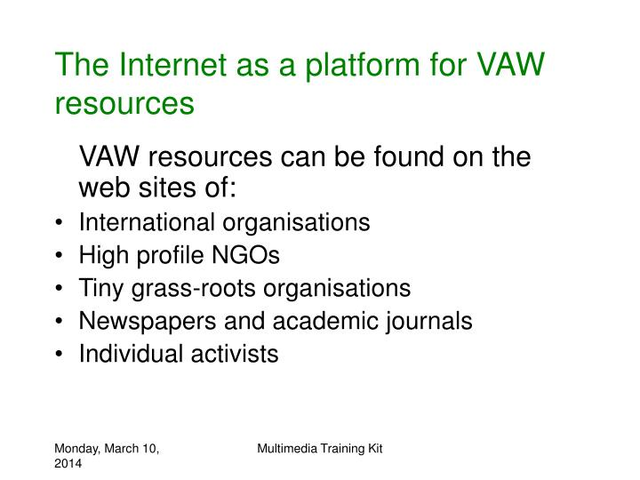The internet as a platform for vaw resources