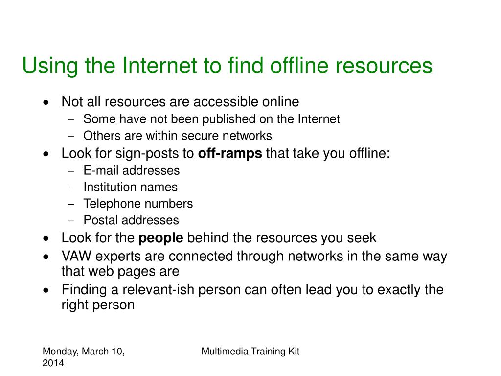 Using the Internet to find offline resources