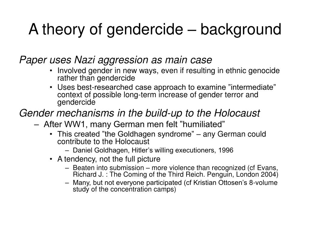 A theory of gendercide – background