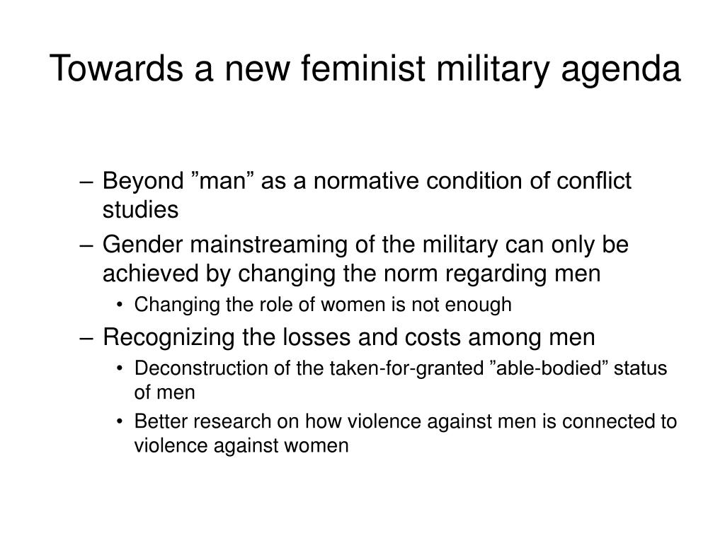 Towards a new feminist military agenda