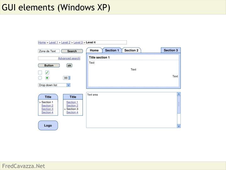 Gui elements windows xp