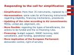 responding to the call for simplification