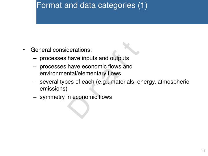Format and data categories (1)