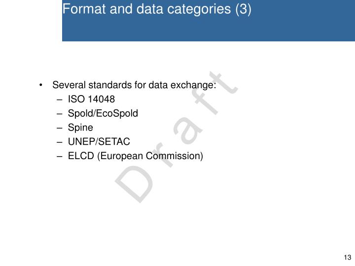 Format and data categories (3)