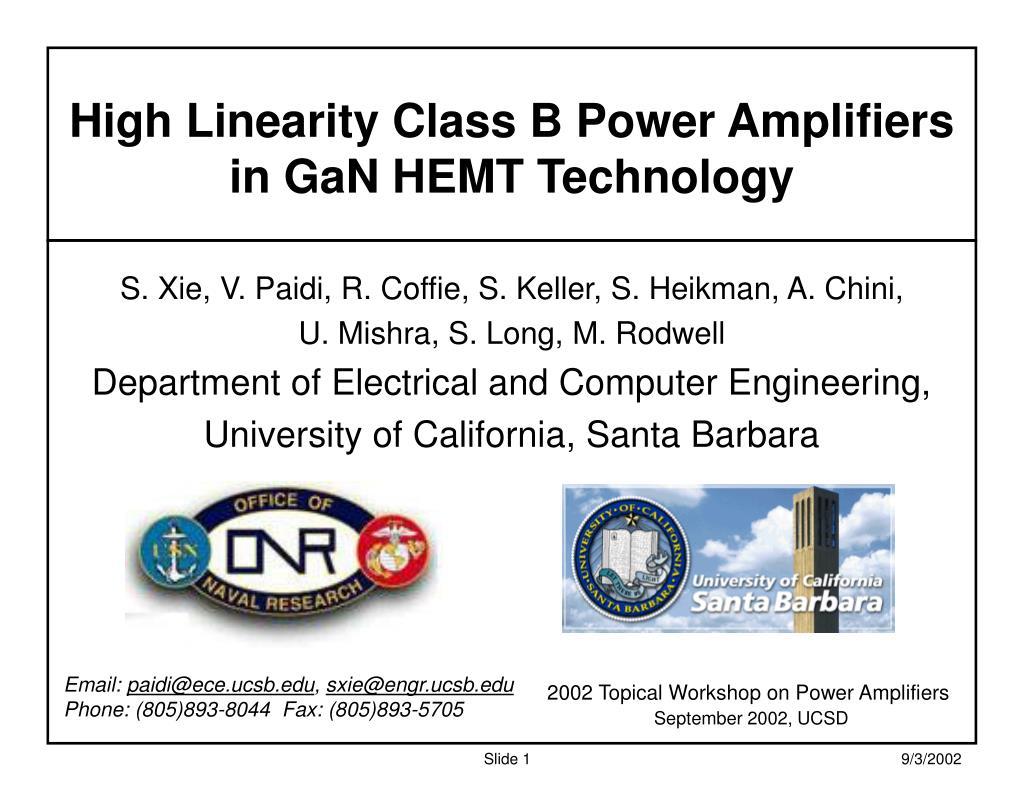 Ppt High Linearity Class B Power Amplifiers In Gan Hemt Technology A N