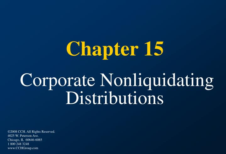 PPT Chapter 15 Corporate Nonliquidating Distributions