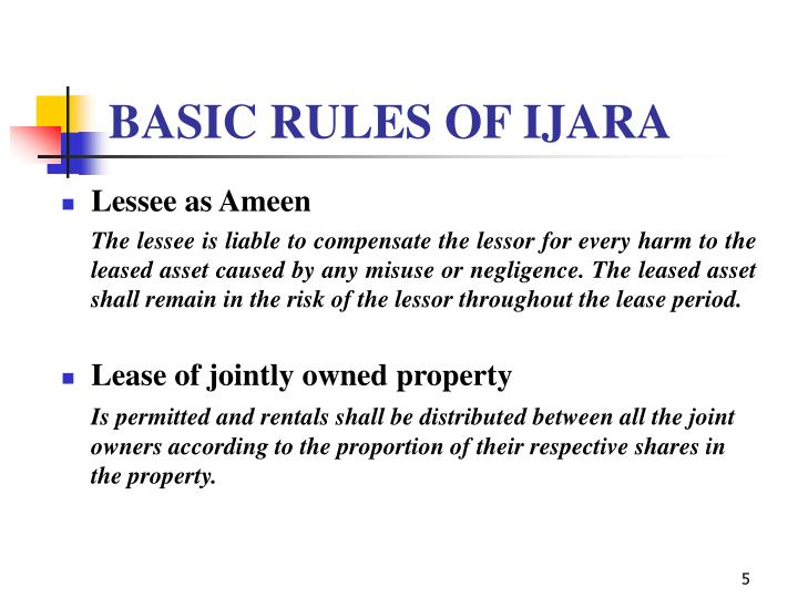 BASIC RULES OF IJARA