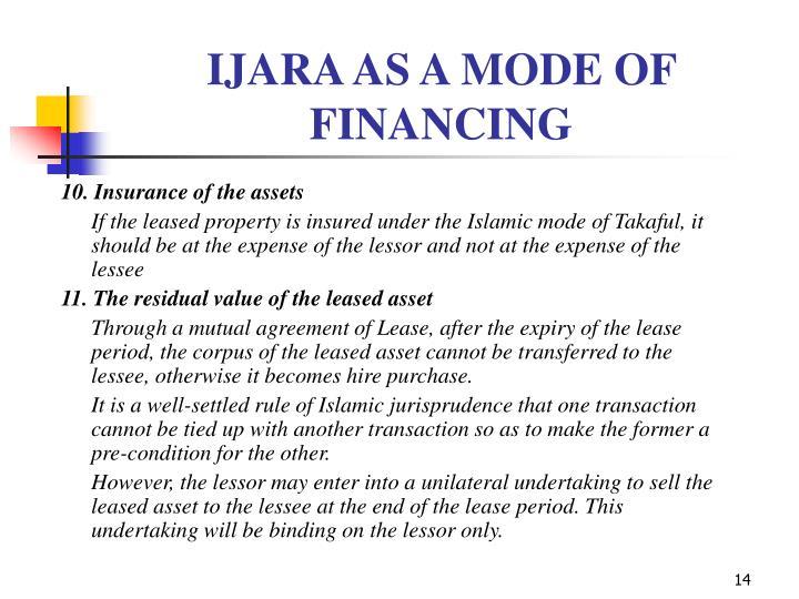 IJARA AS A MODE OF FINANCING