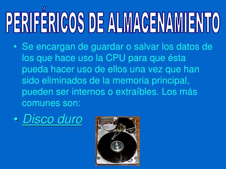 PERIFÉRICOS DE ALMACENAMIENTO