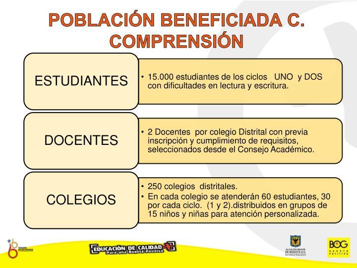 POBLACIÓN BENEFICIADA C. COMPRENSIÓN