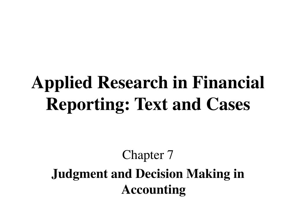 judgment and decision making in accounting