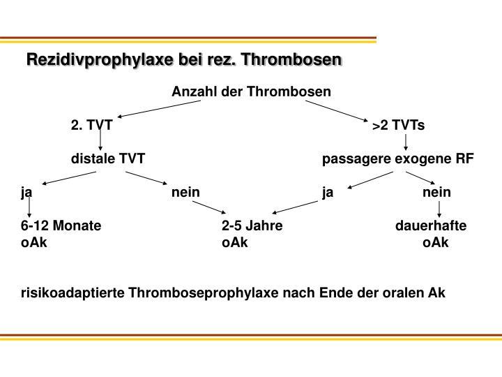 Rezidivprophylaxe bei rez. Thrombosen