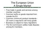 the european union a single market