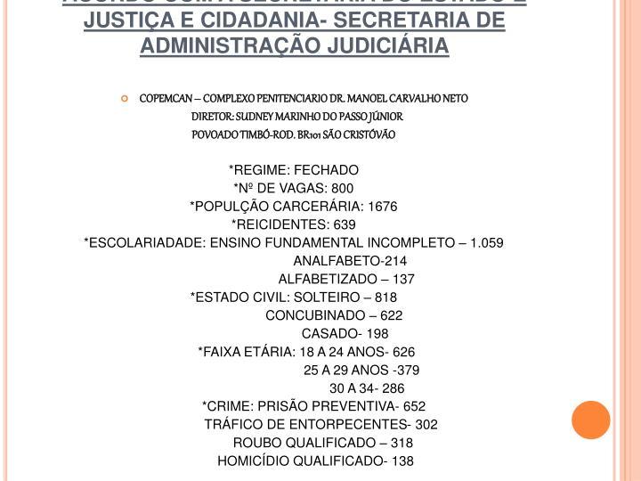 DADOS DOS PRESÍDIOS DE SERGIPE DE ACORDO COM A SECRETARIA DO ESTADO E JUSTIÇA E CIDADANIA- SECRETARIA DE ADMINISTRAÇÃO JUDICIÁRIA