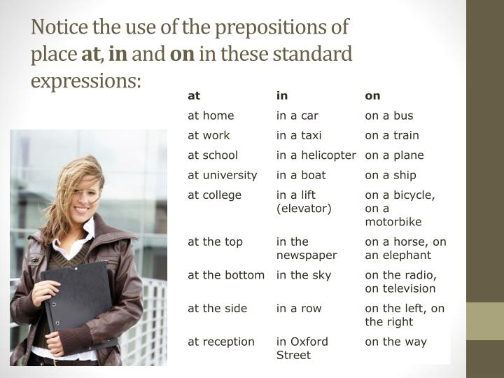 Notice the use of the prepositions of place