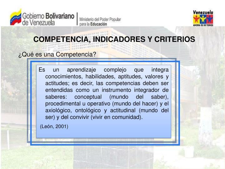 COMPETENCIA, INDICADORES Y CRITERIOS