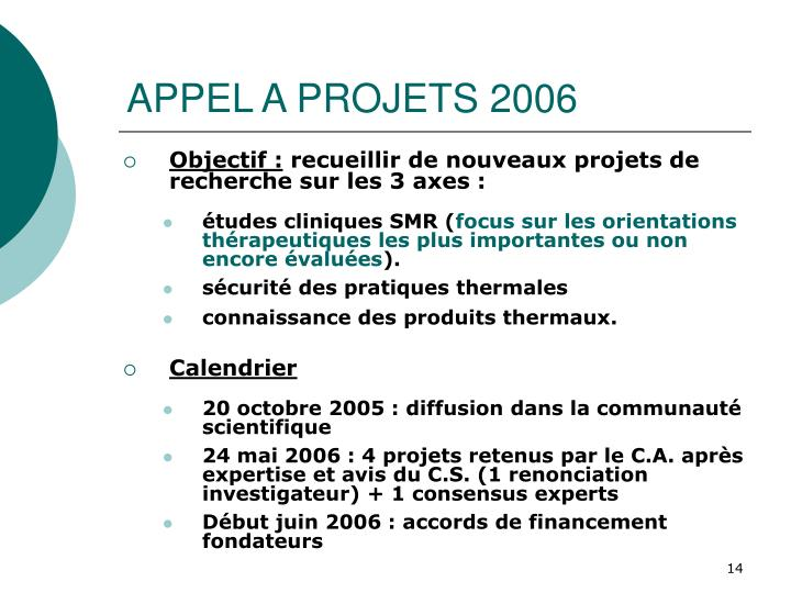 APPEL A PROJETS 2006