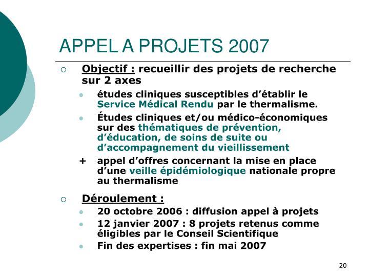 APPEL A PROJETS 2007