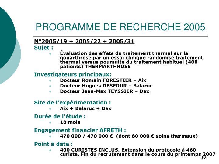 PROGRAMME DE RECHERCHE 2005