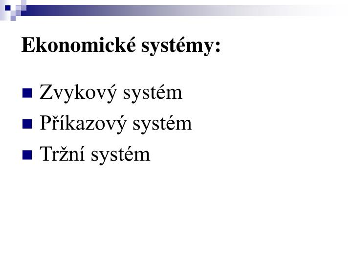 Ekonomické systémy: