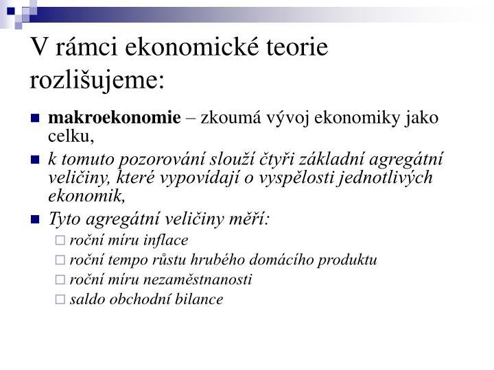 Vrámci ekonomické teorie rozlišujeme: