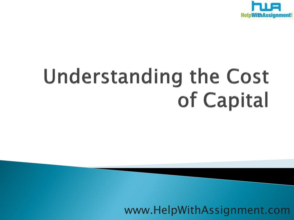 understanding the cost of capital l.