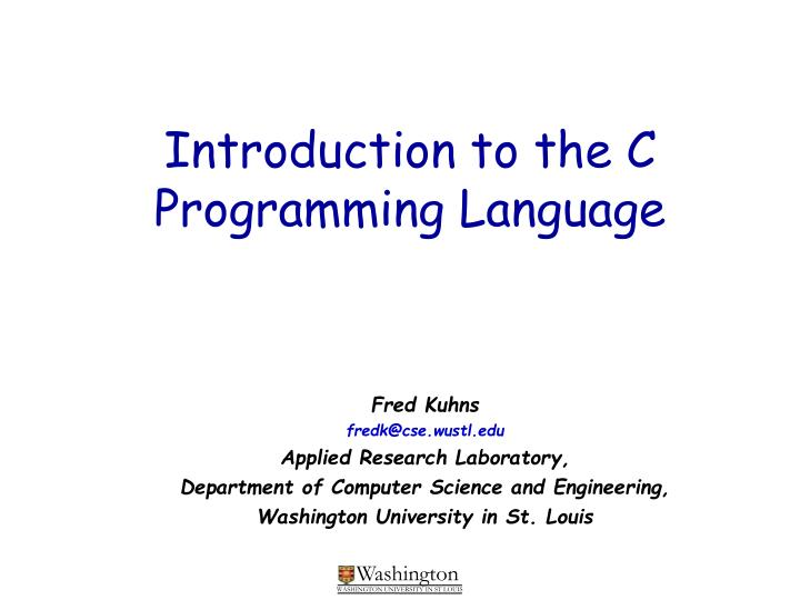 introduction to the c programming language n.