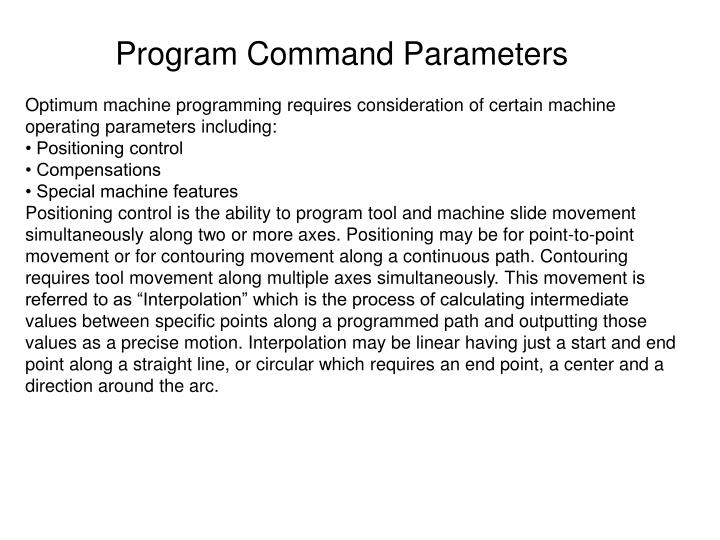 Program Command Parameters