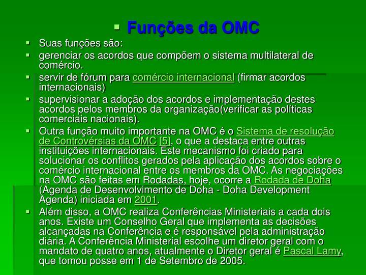 Funções da OMC