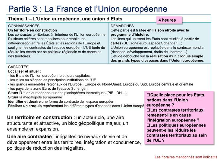 Partie 3 : La France et l'Union européenne