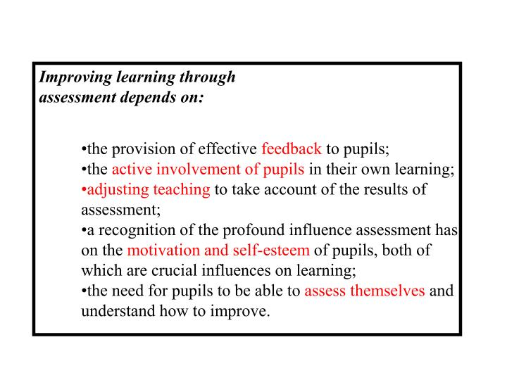Improving learning through